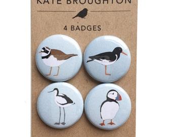 coastal bird badges / pins / bird pinback buttons (set of four) - puffin , avocet , oystercatcher , ringed plover - seabirds , uk bird gift