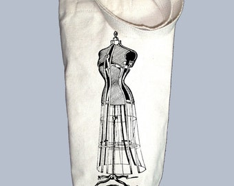 Fun Vintage Dress Form - ANY COLOR  Illustration Canvas Alcohol/Wine Gift Bag