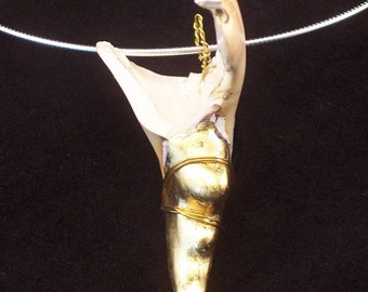 "hand gilded 23k gold leaf crab claw shell necklace on sterling silver chain#15 claw 2 3/4"", chain 16"""