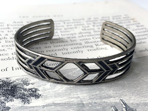 Architectural Jewelry, Geometric Cuff Bracelet, Chevron Design, White Bronze Bracelet