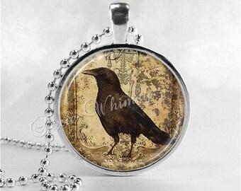 RAVEN Pendant Necklace Jewelry, Raven Black Crow Bird Gothic Art Jewelry, Glass Art Necklace, Vintage Raven Art