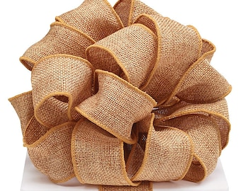 "5YDS Golden Brown BURLAP 1-1/2"" Wired Wire Edge Ribbon"