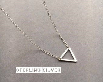 Triangle Necklace, Sterling Silver Necklace, Silver Triangle Necklace, Geometric Necklace, Minimal Necklace, UK Seller