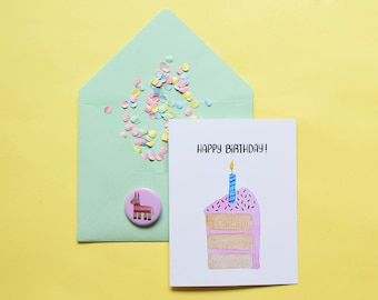 Cool birthday card etsy happy birthday greeting card strawberry cake design bookmarktalkfo Gallery