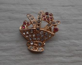 Vintage Rhinestone Flower Basket Pin. 1970's.