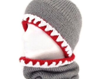 Shark hat, Shark scarf, Shark hat and scarf, Hat and scarf combo, cowl, Knit shark hat, crochet shark hat, Shark scarf, Shark cowl,