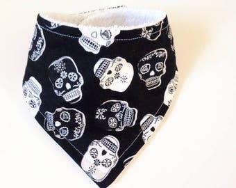 Black/White Skull Baby Bandana Bib / baby bandana