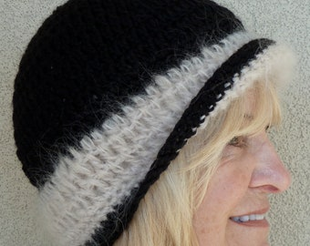 Black and white and warm all over, women's winter crochet hat, original and unique skullcap, choose how you will wear it