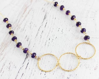 Circle Pendant Necklace, Amethyst Gemstone Necklace, February Birthstone Necklace, Purple Wire Wrap Necklace, Trio Statement Necklace