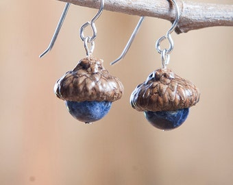 Real Acorn Earrings with Sodalite + Sterling Silver handmade by Nuttier Than A Squirrel | blue denim cobalt indigo, white, poet stone, fairy