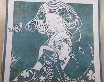 Original paper cut Asian beauty..