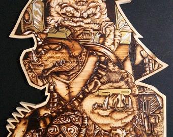 Pyrography of TMNT Villains!!! Wood Burning Art of Krang, Bebop and Rocksteady.