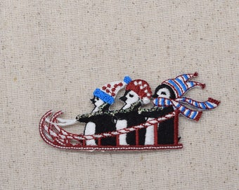 Three Penguins - Sledding - Winter - Iron on Applique - Embroidered Patch - 696452-A