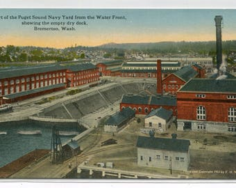 Dry Dock Puget Sound Navy Yard Bremerton Washington 1910c postcard
