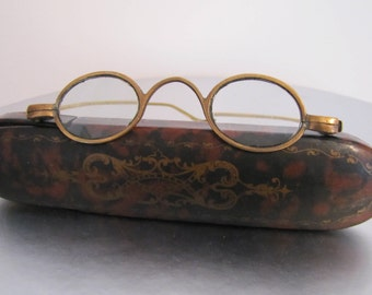 Antique Georgian Gold & Brass Spectacles With Original Papier Mache Faux Tortoiseshell Etui Case. 18th Century Made In England Eyeglasses.