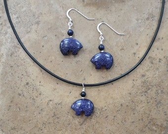 Zuni Fetish style Blue Goldstone Bear Earrings & Necklace SET, beaded with Sterling Silver