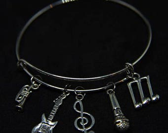 Music Themed Expandable Bangle Charm Bracelet/Music Lover/Music Band/Wire/STYLE #3