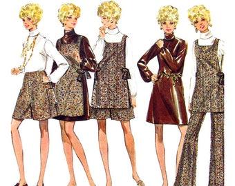 1960s Dress Blouse Tunic Pantskirt Pants Pattern Butterick 5353 Womens Bust 36 Vintage Sewing Pattern
