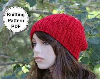 KNIT HAT PATTERN Instant Pdf Download | Britney Slouchy Beanie | Textured Slouch Hat Pattern