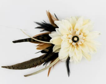 FLOWER FEATHER FASCINATOR, Ivory Flower Fascinator, Ivory Fascinator, Feather Fascinator, Flower Fascinator, Rib Bone, Hair Accessories