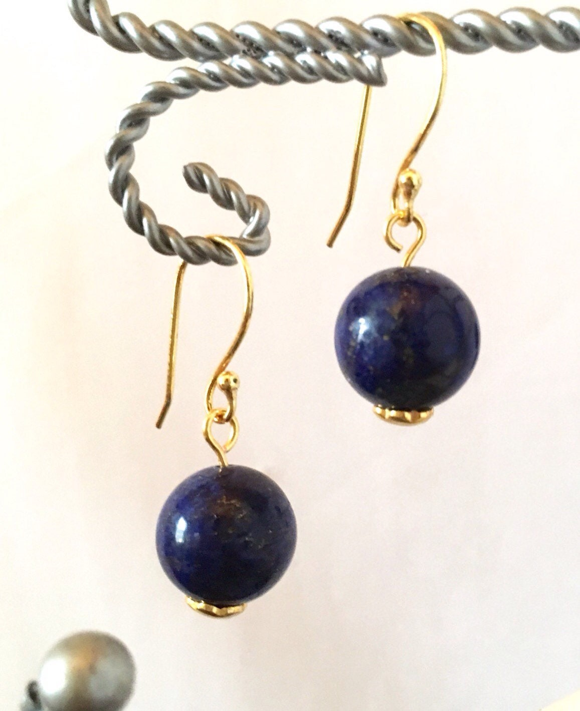 lapis drop and gold magic l as lazuli for arpels in alhambra earrings new id cleef van long condition jewelry j