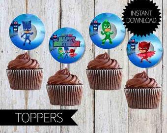 PJ Masks Birthday Party Printables Cupcake TOPPERS- Instant Download | Disney Junior| PJ Masks