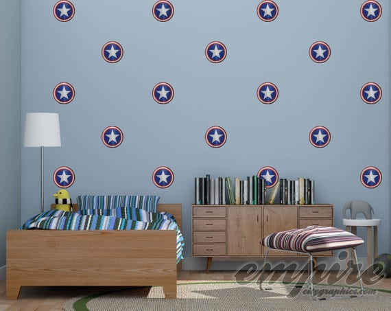 Mini Superhero Shield printed wall decals, Comic Book Shields, Captain America Style Shield