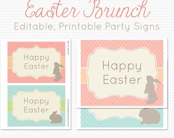 Easter Party Decorations, Party Decor, Welcome Sign, Party Signs, Party Supplies -- Editable, Printable, Instant Download