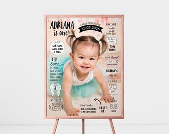 Milestone Poster | Milestone Chalkboard | Birthday Photo Poster | 1st Birthday Sign | Birth Print