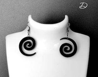 """Earrings black """"Snail"""", asymmetric earrings , little black dress , mismatched earrings , asymmetric jewelry , bohemian earrings"""