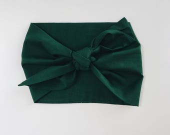 Cotton Solid Hunter Green Headwrap/Headband - One Size Fits All