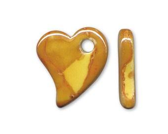 1 heart pendant with handmade ceramic yellow 22x19mm
