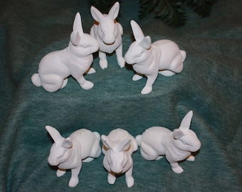 Ready To Paint White Rabbit Figurines, Set of 6, Shipping Included, S-12