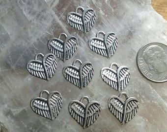 9 Silver Pewter Angel Wing Heart Charms
