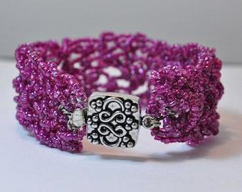 Crocheted Purple Cuff Bracelet