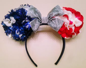 Light Up American Flag Ears, 4th of July Ears, Custom Minnie Ears