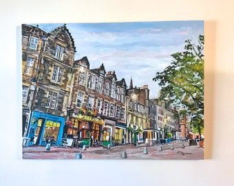 Edinburgh Grassmarket Scotland Large Original oil painting 36x48 Dusk Architecture Oil Painting by Gwen Meyerson