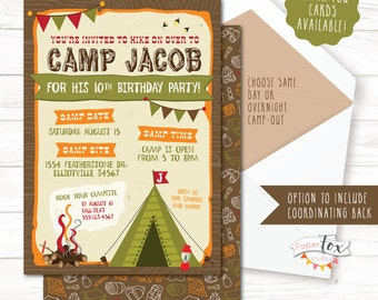 Camping invitation camping birthday invitation sleepover camping birthday invitation camping birthday party invitation camp out party camping party filmwisefo Images
