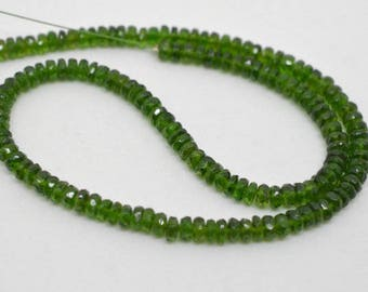 Natural Chrome Diopside Faceted Rondelle Bead, Chrome diopside Bead, Chrome Faceted Bead, Faceted chrome diopside Bead, Wholesale chrome