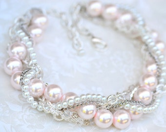 Blush Pink Bridal Statement Necklace Chunky Pearl Rhinestone Silver Necklace Twisted Wedding Jewelry  - Pearly Q