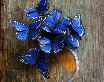 Electric Indigo Butterfly Fascinator, Blue Headpiece, Headband, Butterfly Headdress, Derby, Party Hat