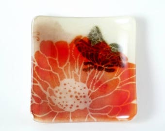 Brilliant Flower with Butterfly Square Fused Glass Spoon Rest Ring Holder Catch All Dish