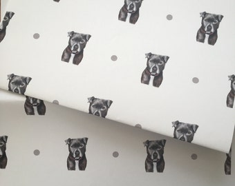Staffie, wrapping paper, gift wrap, for staffie lovers, for dog lovers, Staffordshire bull terriers, for dog owners, read description