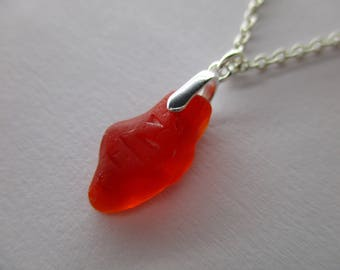 GENUINE SEA GLASS Necklace Sterling Silver Rare Red Amberina Real Surf Tumbled Natural Greek Beach Found Seaglass Pendant Jewelry   N 751c