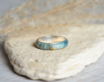 Blue wood band ring, silver and wood ring, 5 year anniversary ring, thin wooden band ring with sterling silver, ready for shipping