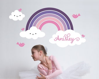 Rainbow Wall Decal with Personalized Name for Kids Nursery Baby Rainbow Room Decor