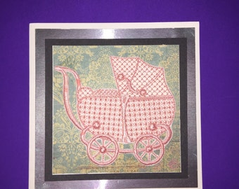 Lovely Pink Embroidered Pram Greetings Card