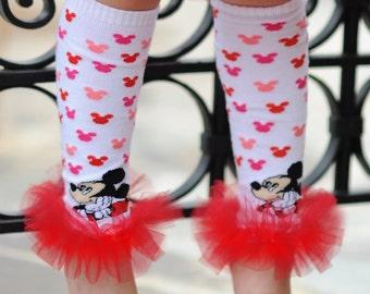 Mickey Mouse Girls Ruffle Tutu Leg Warmers - Perfect for Birthday, Costume, Photo Prop, Dress up, Fits Girls 6M-6X