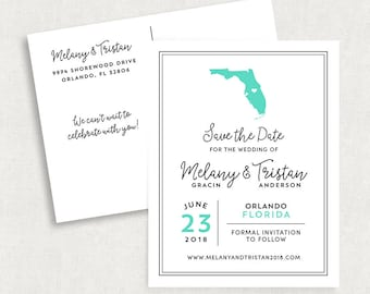 Florida Save the Date Postcards, State Save the Date Postcards, Travel Save the Date Postcards, Printable Save the Date Postcards, PDF, DIY