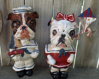 Art populaire anglais Bulldog chien marin BoyDog ou fille chien poupée Vintage Outsider nostalgique sur mesure